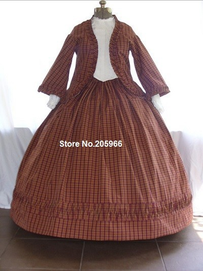 Custom Made 3pieces 1856s Fitted Zouave Victorian Civil War Day Dress Tea Party Dress/Holiday Dress(China (Mainland))