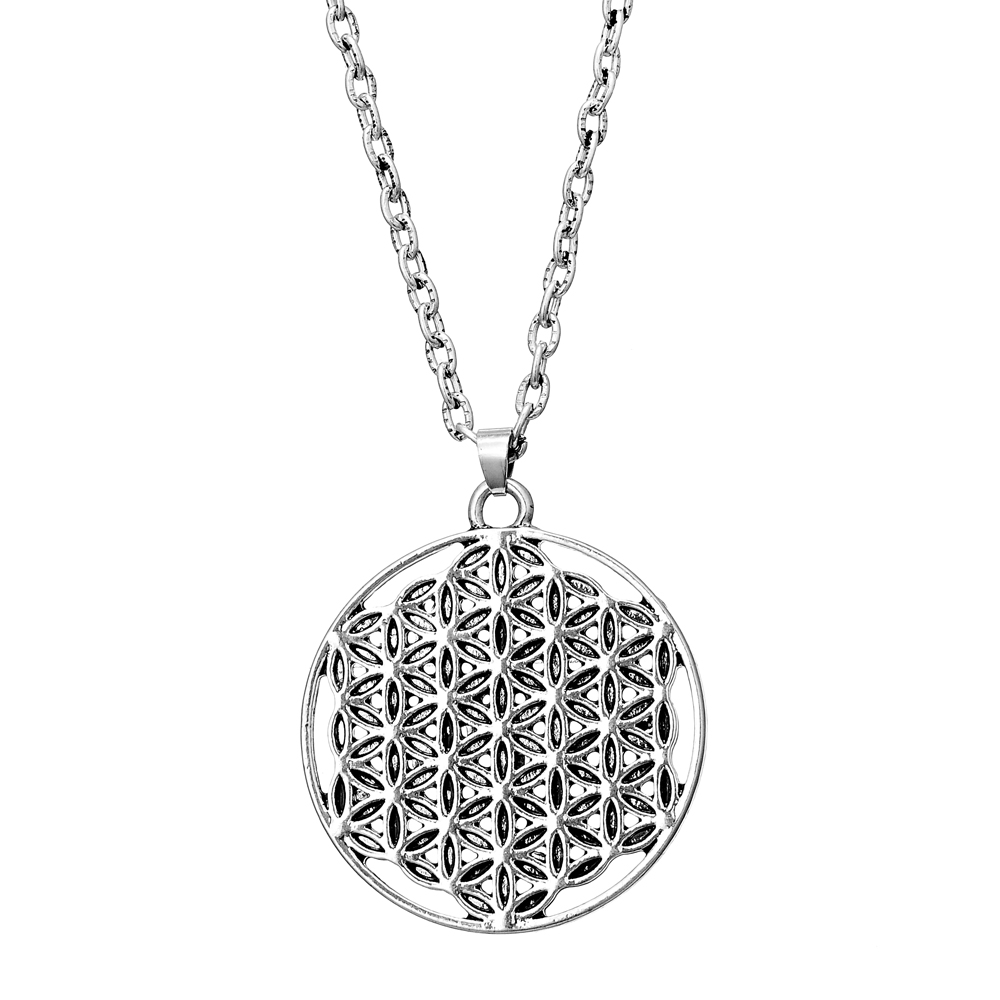 Zinc Based Alloy Flower Of Life Charms Pendants Necklace Silver Plated Hollow Carved Necklaces for women mens Jewelry(China (Mainland))