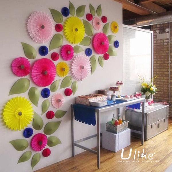 16 u0026 39  u0026 39  20ps  lot free shipping tissue paper flower lantern fan design paper flowers decorative