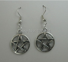 Fashion 20 Pair Vintage Silver Wicca Round Pentagram  Charms Drop Earrings For Women Dress Brand With Gift Box Jewelry DIY P2177(China (Mainland))
