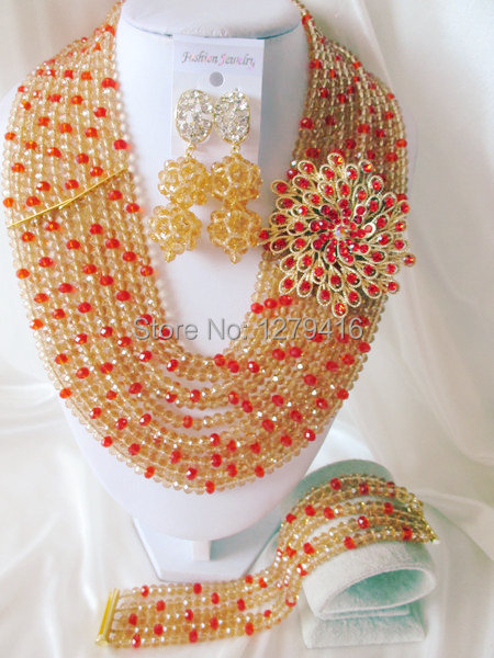 Fashion Nigerian African Wedding Beads Jewelry Set , Crystal Necklace Bracelet Earrings Set C0432<br><br>Aliexpress