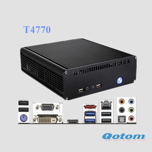 quad core mini pc i7,QOTOM-T4770 with intel core i7-4770 processor onboard,4G RAM 500G HDD, linux mini pc windows 7/windows 8(China (Mainland))