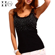 Summer Hot Selling Women Casual Tank Top Korean Style Sexy Bling Rhinestone Lace Solid Slim Soft Tops Colete WBJ056(China (Mainland))