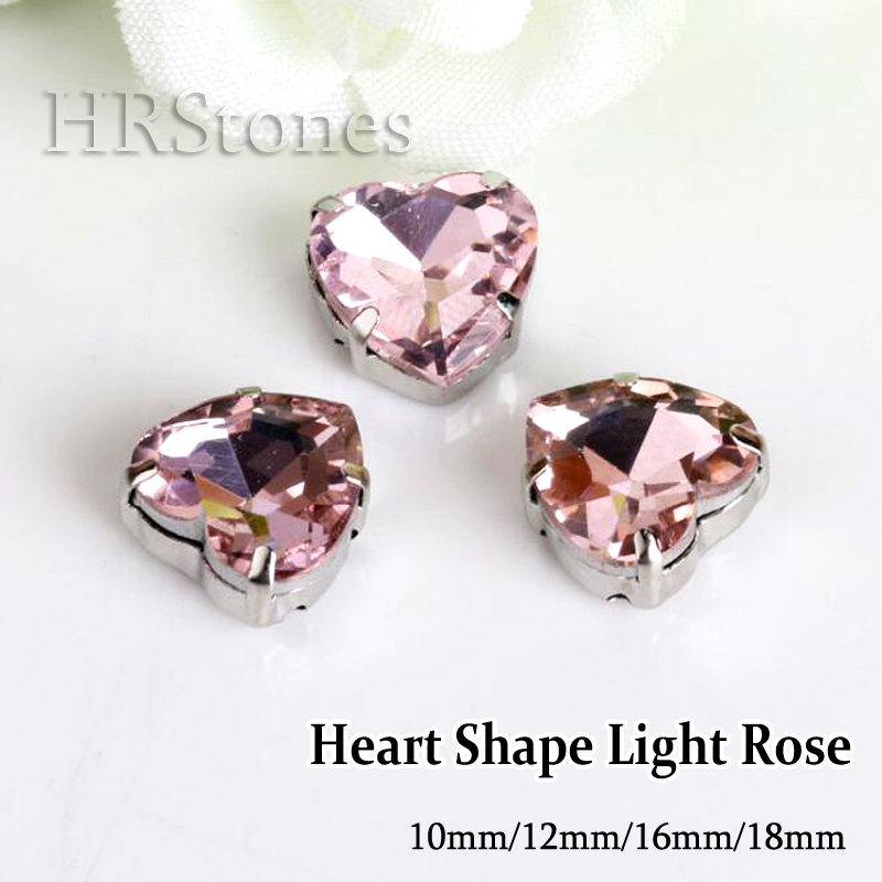 Heart Shape Wedding Bridal Decoration DIY Evening Dress piedras strass Pink Claw Sewing on Rhinestones(China (Mainland))