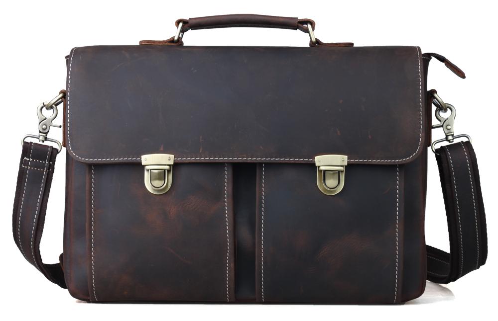 TIDING Men genuine leather portfolio office bag authentic designer handbags vintage style briefcase 1119(China (Mainland))