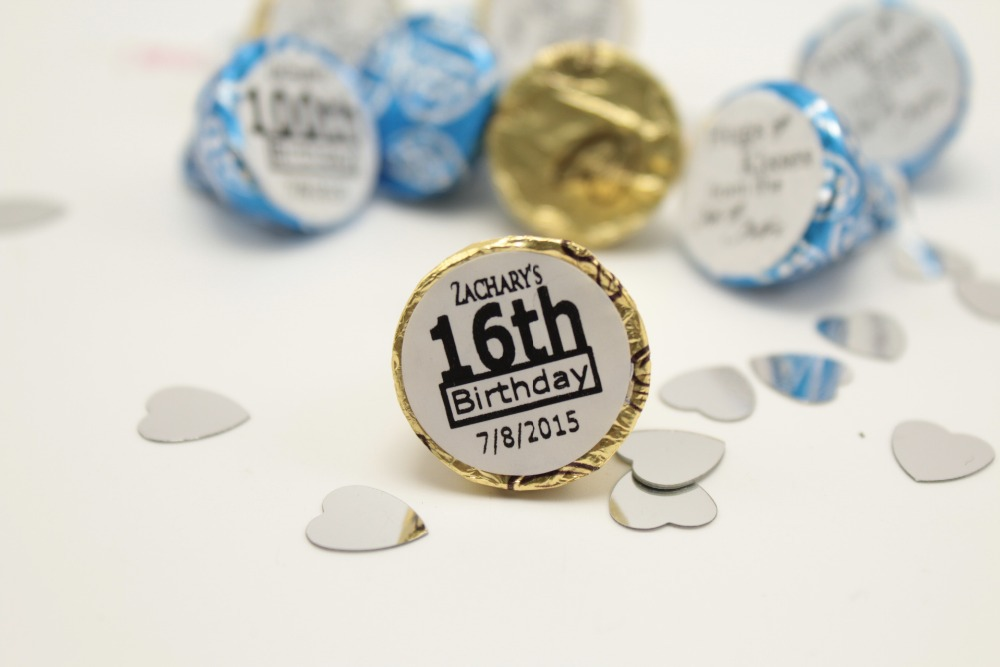 108pcs sweet 16th birthday party favors custom personalize hershey kiss sticker labels(China (Mainland))