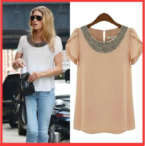 Women Camisa Feminina Blouse Shirt 2015 New O-Neck Short Sleeve Blouses Casual Chiffon Blusas Femininas Shirt Women Plus Size(China (Mainland))