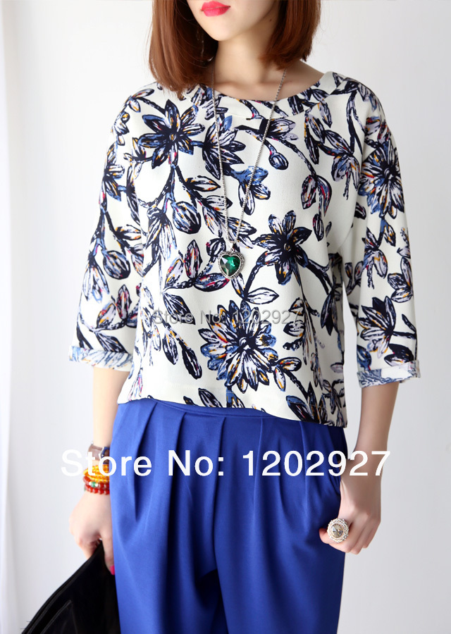 Spring flower pattern 2015 basic shirt chiffon shirt female fashion three quarter sleeve loose chiffon shirts female top(China (Mainland))