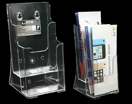 4pcs Clear A6 2 Tiers Acrylic Plastic Brochure holder desktop Literature Display Holder Stand To Insert Leaflet holder(China (Mainland))