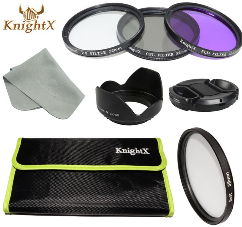 58mm 52mm 67mm Soft Effect Diffuser Lens Filter CPL UV FLD Lens Kit for Canon Nikon Sony Digital Camera DSLR KnightX X(China (Mainland))
