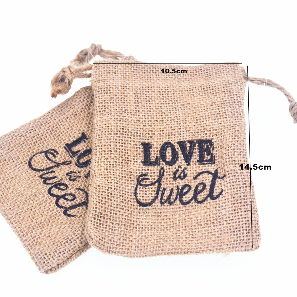 """10.5x14.5cm """"LOVE Is Sweet"""" Wedding Candy Bag With DIY Kraft Tag/ Burlap Pouch/ Burlap Sack/Rustic Party Decorations Favours(China (Mainland))"""