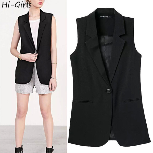 Hi-Girls 2015 spring suit vest Women suit jacket coat Sleeveless long women business suits Black casual vests jaqueta feminina(China (Mainland))