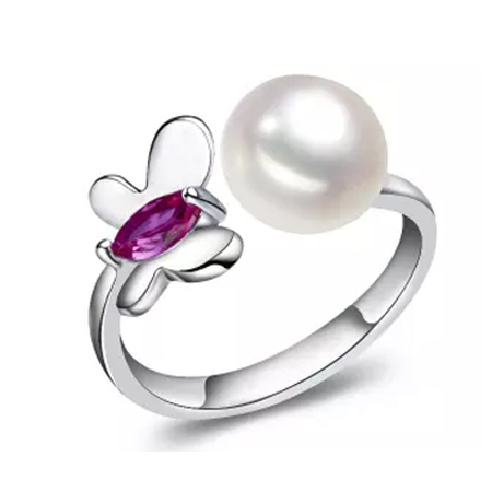 925 sterling silver rings for women elegant butterfly animal jewelry 100% genuine natural pearl ring three color(China (Mainland))