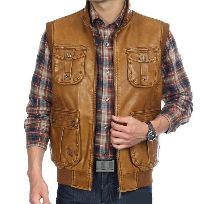 Autumn winter new style Men's PU Leather vest Clothing Outdoor Reporters Suit More Than Pocket Men Vest Tops(China (Mainland))