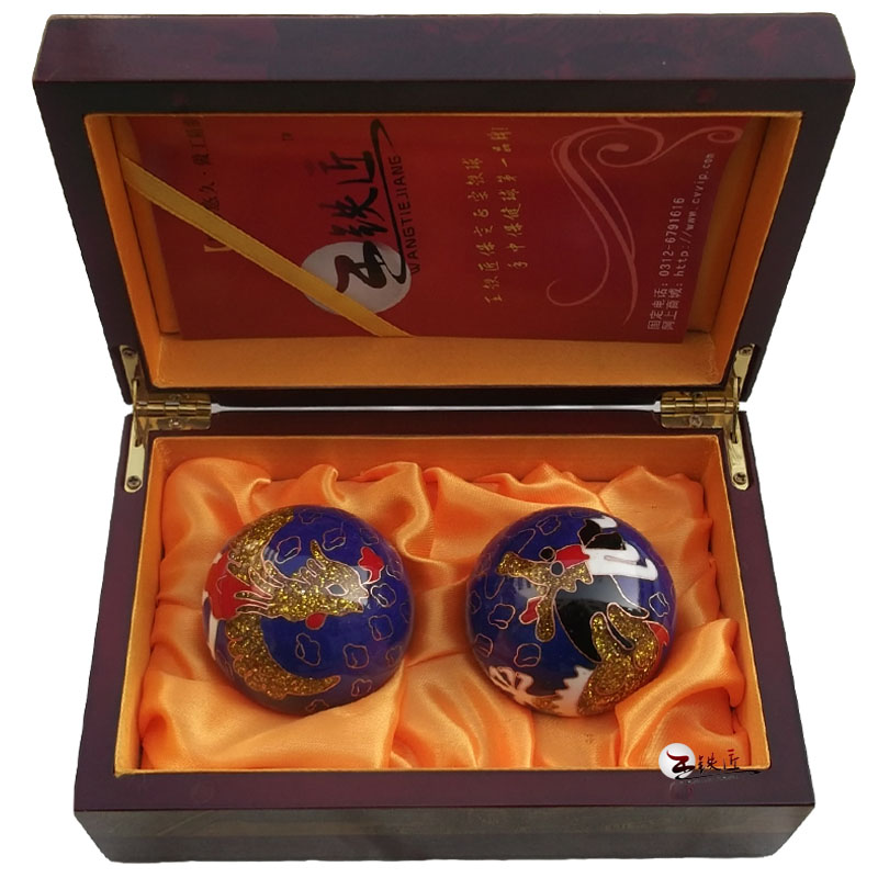 Baoding Dragon Ball 55mm Blue Cloisonne ball with hollow ring business gifts Wang Tiejiang<br><br>Aliexpress