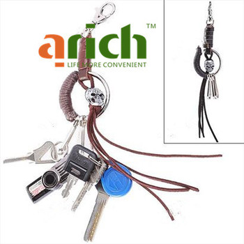 Durable Skull Style Swivel Snap Hook Carabiner & Keychain Key Ring with Connected Rope for Hiking Camping Outdoor