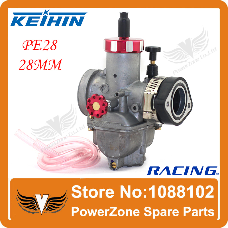 KEIHIN Racing Carburetor PE28 28mm With Rubber Adapter Fit Motorcycle Moped Scooter Dirt Bike ATV  Quad Free Shipping