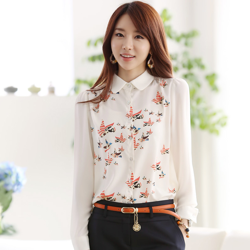 Blusas Feminina Hot Sale Blouse 2015 New Autumn And Winter Ol Fashion Large Size Women Sleeved Chiffon Shirt Butterfly Print(China (Mainland))