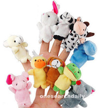 10 PCS Tiny Cute Animal Farm Finger Puppets Learn Play Boys Girls Baby Velvet Toy Free Shipping (China (Mainland))