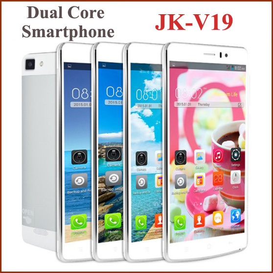 """5.5"""" JK-V19 Mobile Cell Phone Android 4.4 Dual Core 512MB+4GB ROM Unlocked GPS WIFI QHD 5.0MP WCDMA Phone+Case russian language(China (Mainland))"""