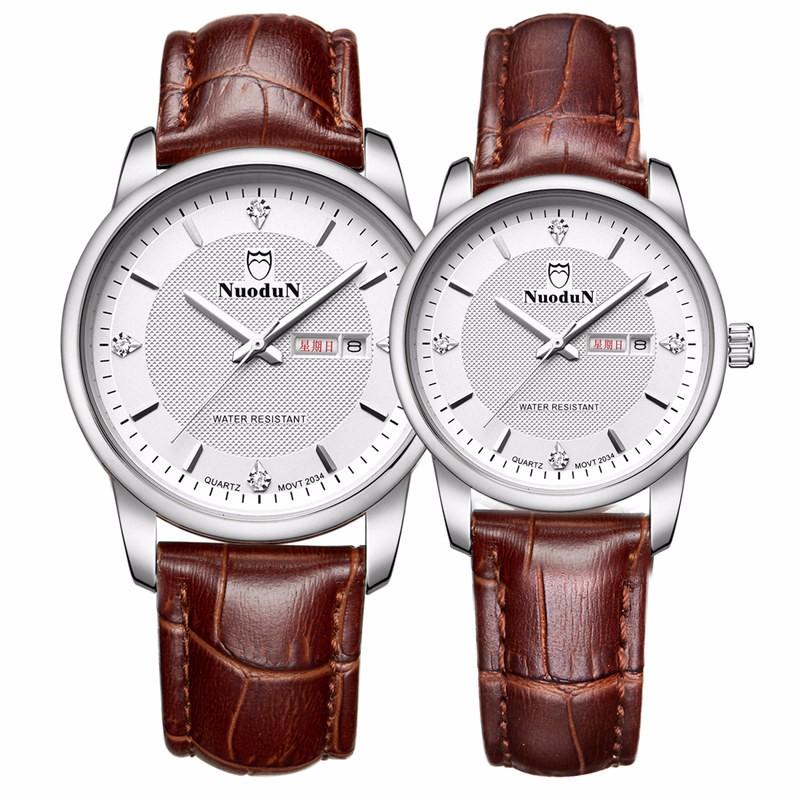 Роскошные Часы Мужчины Кварцевые Часы Водостойкий Неделя Дисплей Мужская Коричневый Кожаный Ремешок Мужские Часы Orologio Uomo