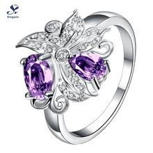 R070 C 925 new fashion women finger ring synthetic ruby and lab diamond rhodium plated free