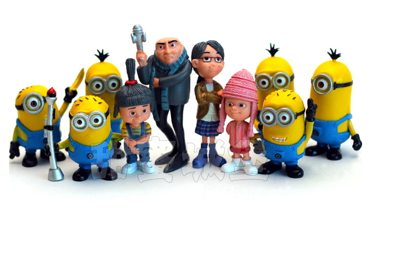 10 pcs/lot high quality Cute 3D eyes Despicable Me 2 Minion movies & tv action & toy figures children kid boy and girl toy(China (Mainland))