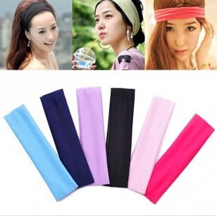 Free Shipping Wide Variety of plain hair band headband elastic headband sports yoga towel color optional A256(China (Mainland))
