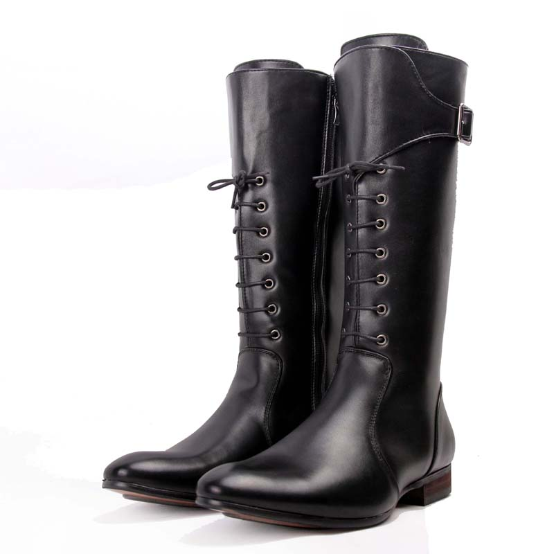 knee high leather martin boots lace up winter shoes