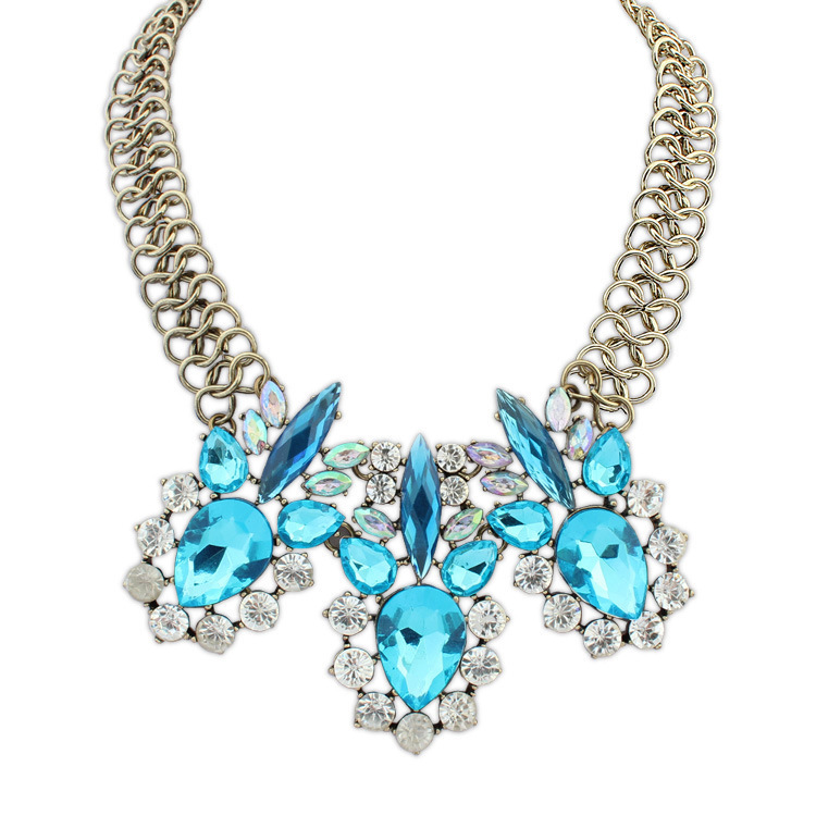 Hot Sale Jewellery Exaggeration Colorful Rhinestone Restore Ancient Deer Clavicle Chain Pendant Necklace For Women(China (Mainland))