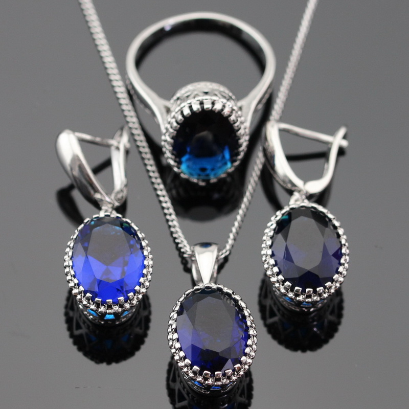 Oval Blue Sapphire Jewelry Sets For Women 925 Silver Necklace Pendant Earrings Rings Size 6 7 8 9 Free Jewelry Box(China (Mainland))