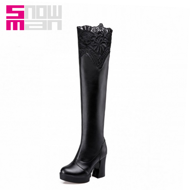 Woman Winter Boots Women's Shoes Women Boots Sexy Lace Over the Knee Boots Lady's Hoof High Heels Slim Long Boots Platform Shoes