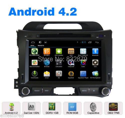 Pure Android 4.2 8 inch Car DVD GPS+Glonass for KIA sportage r/Sportage 2010 2011 2012 2013 with radio bluetooth+Reverse camera(China (Mainland))