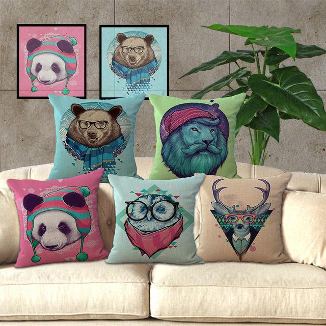 Известный дизайнер дома декоративные белье чехол для марка качество наволочка творческой головой животного лев медведь панда сова