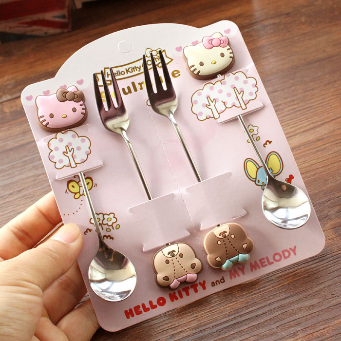 Hot sales Kawaii Hello Kitty Twin Star Melody 4 Pieces Stainless Steel Coffee Spoon Fork Dinnerware Set Children Gift Tableware(China (Mainland))