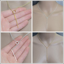 2015 Y Chain Necklace Gold Silver Plated Colar Vintage Jewelry For Women Bar Circle Pendant Necklaces