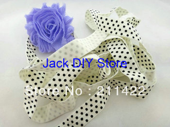 10 Yards Ivory with Black Dot Elastic for Baby Headbands, Elastic By The Yard Hair Accessorries
