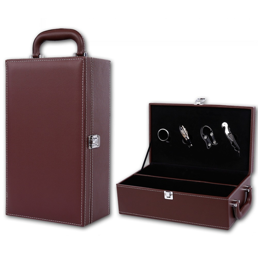 Luxury Modern PU Leather Top Handle Travel Red Wine Carrier Case with 4 Piece Wine Accessory Set Best Gift(China (Mainland))