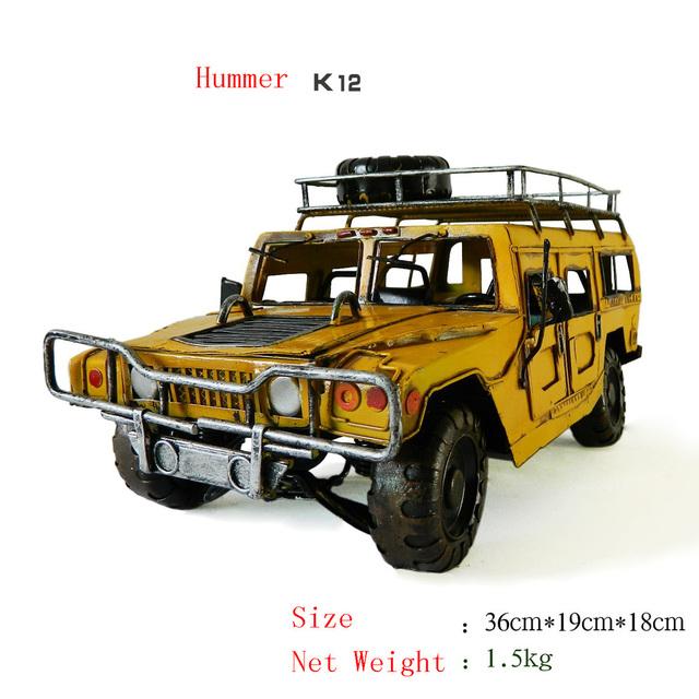 Antique craft Hummer K12 car model handmade craft home decoration bar coffee house display birthday gift
