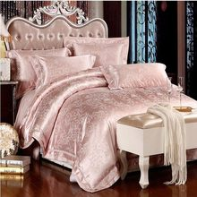 4/6pcs Jacquard Silk Bedding Set Queen King Size Pink/Beige/White satin bed set duvet cover bedclothes bed sheets pillowcases(China (Mainland))