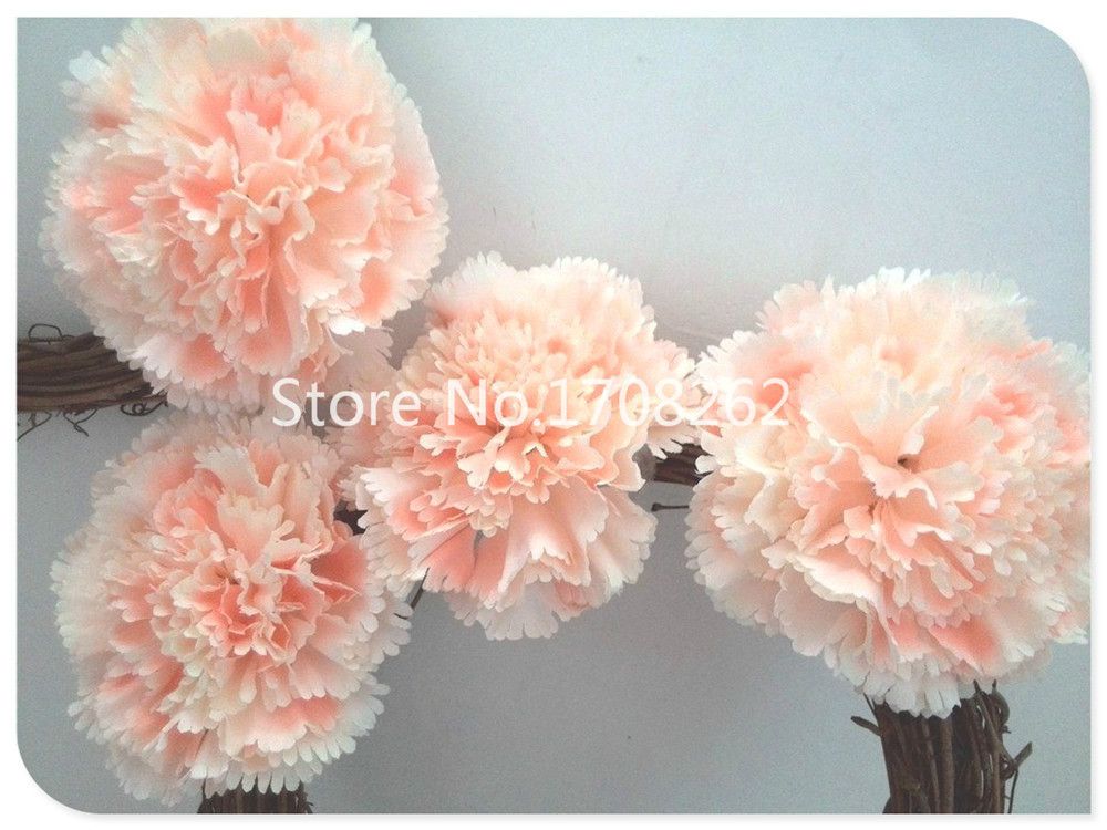 absolutely better quality silk carnation head, pompon like.for party hairflower/wedding creations/themed centerpiece,champagne(China (Mainland))