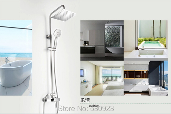 Free Shipping Wholesale And Retail Modern Chrome Finish Bathroom Rainfall Shower Faucet 8 inch Shower Head With Hand Shower