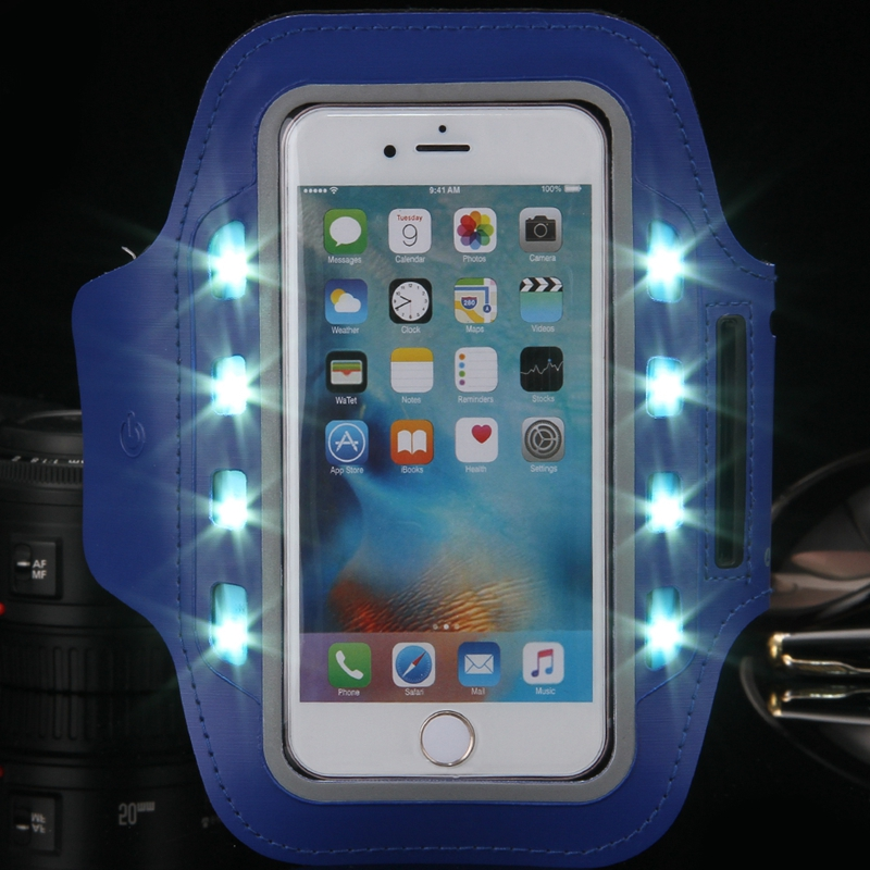 5.5''General Sports Running LED Light Arm Band For Huawei Ascend P6 P7 P8 Hornor 6/4c 3C Raven LTE H892LWaterproof Workout Case(China (Mainland))