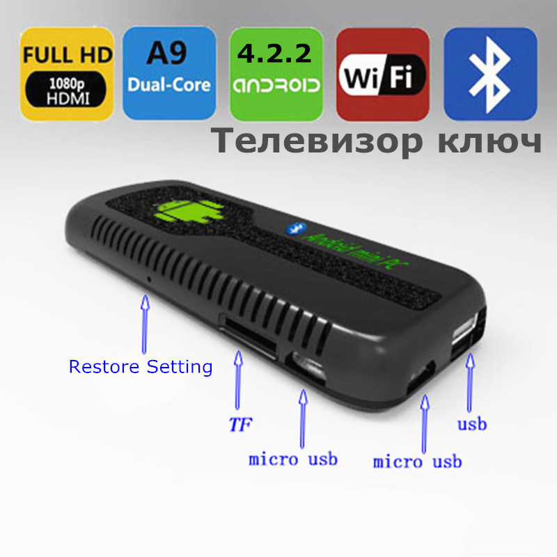 UG007 II Android 4.2 WiFi Bluetooth HDMI Mini PC Arabic TV box TV Dongle Stick RK3066 Dual Core Cortex A9 1GB RAM 8GB ROM 3D(China (Mainland))