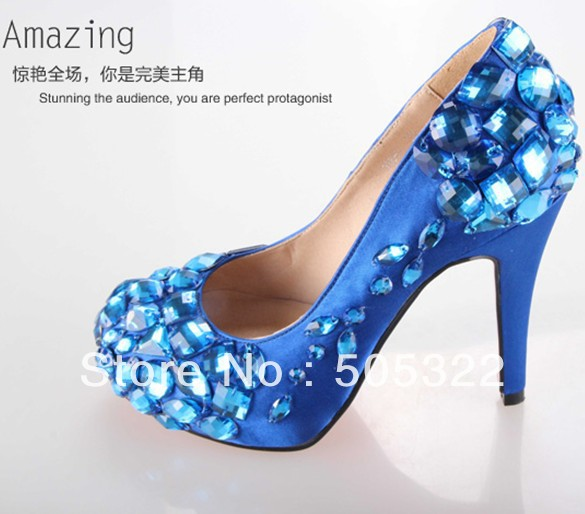 JWS388 Free Shipping Time Limited Discount Custom Made High Heel Crystal Bridal Shoes Royal Blue