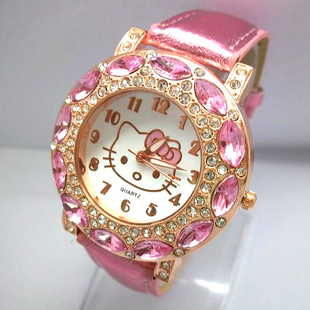 holiday sale high quality Leather Hello Kitty Watch Children women dress fashion Crystal quartz wrist Watch