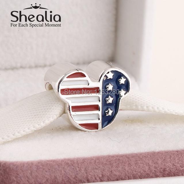 Подвески весна 2015 новый сша мышь с многоцветный эмаль 925 серебряные ювелирные изделия для женщин подходит известная марка браслет SH0633