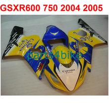 Yellow blue gsxr 600 Fairing kit For Suzuki 750 2004 2005 04 05 Motorcycle Racing fairings +7gifts m34(China (Mainland))