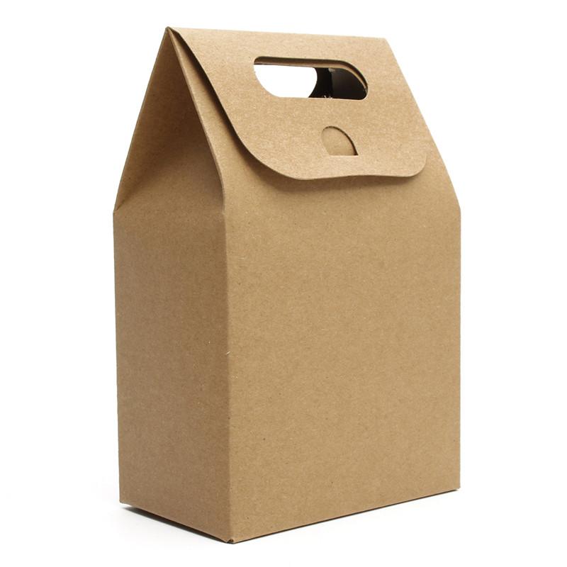 Best Price 5 PCS Weekends Deal Packaging Real Food Bags 350g Kraft Paper Cake Cookies Packing Bag Flexiloop Handle Package(China (Mainland))