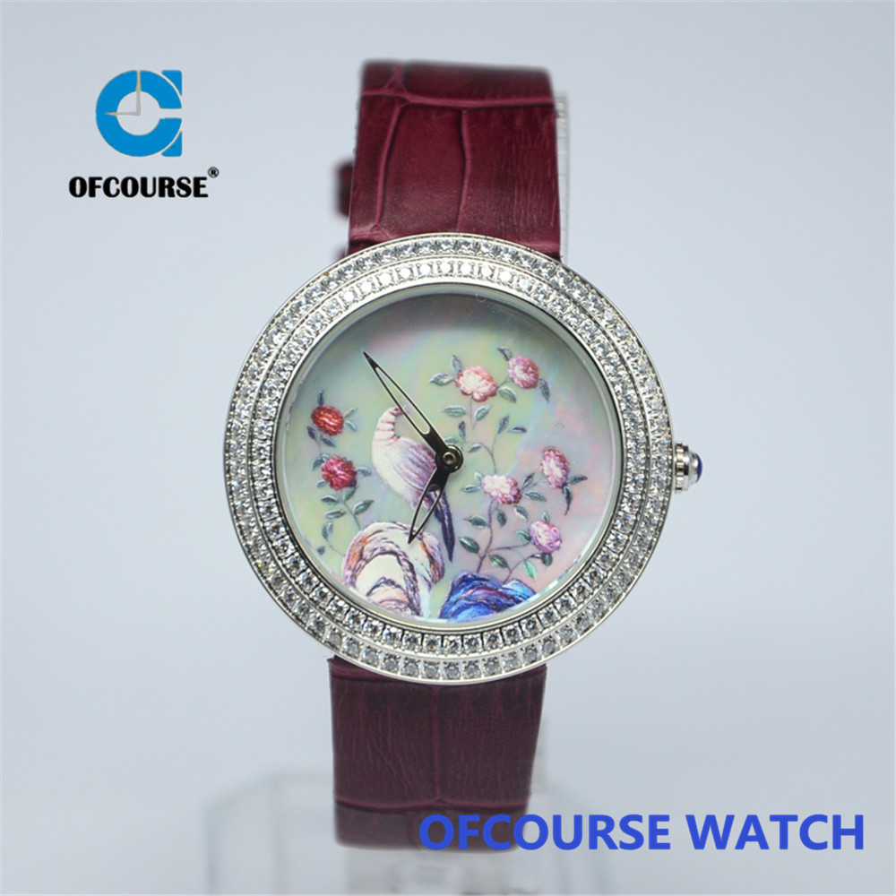Free shipping 2015 ofcourse brand latest model interchangeable real leather band watch ladies(China (Mainland))
